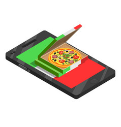 pizza online isometric composition vector image