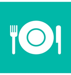 Plate with fork and knife restaurant menu icon vector