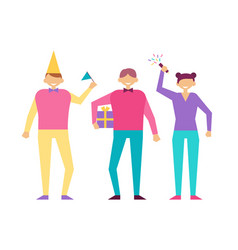 Positive people in cartoon style on birthday party vector