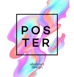 Poster design with colored fluid vector