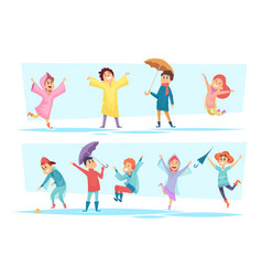 rain characters happy kids playing in autumn vector image