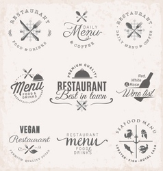 Restaurant Badges and Labels in Vintage Style vector