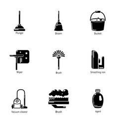 room cleaning icons set simple style vector image
