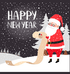 santa reading presents list card vector image