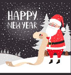 santa reading presents list card vector image