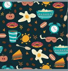 Seamless pattern with breakfast symbols morning vector
