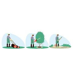 Set male handyman character gardening vector