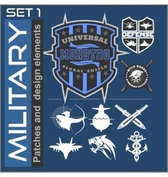 Set military patches logos badges and design vector