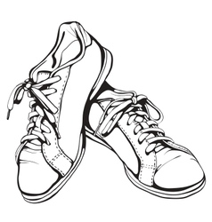 Shabby Running Shoes in Black Ink vector