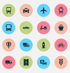 shipment icons set collection of aircraft road vector image
