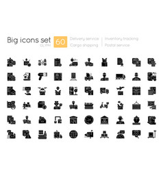 Shipping and delivery black glyph icons set vector