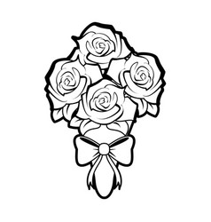 sketch silhouette image wedding bouquet of roses vector image