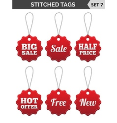 Stitched tags Set 7 vector