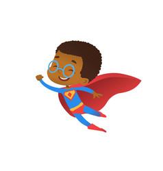 Superhero african cute kid fly costume flat vector