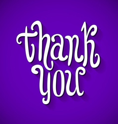 thank you handwritten text violet background vector image
