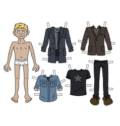 the blonde paper doll boy vector image