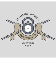 Training on time Cross Training emblem vector image