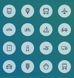 transport icons line style set with bicycle cab vector image