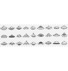 Ufo and flying plates in cosmos doodle set vector
