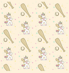 unicorn hold stick baseball seamless pattern vector image