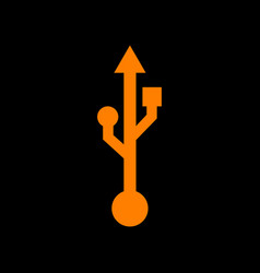 usb sign orange icon on black vector image