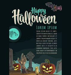 Vertical poster with happy halloween calligraphy vector