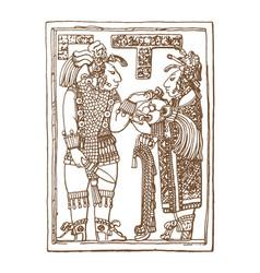 vintage graphic maya glyphs inca and aztec zodiac vector image