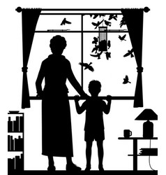 Woman and child watching birds vector
