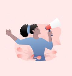 Woman with loudspeaker vector