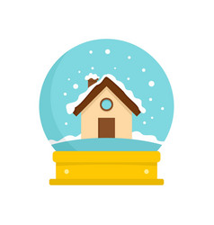 wood house glass ball icon flat style vector image