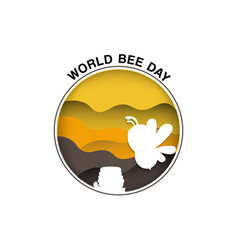 World bee day with paper cut style vector