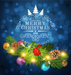 Blue Christmas background with garland vector image vector image