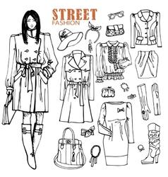 Fashion girl and street clothing setOutline vector image