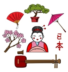 Japanese travel and culture icons vector image