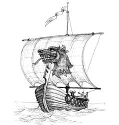 Long boat drakkar sketch vector image vector image