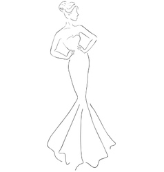 sketch of young beautiful woman vector image vector image