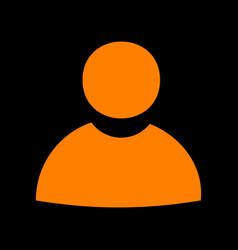 user sign orange icon on black vector image