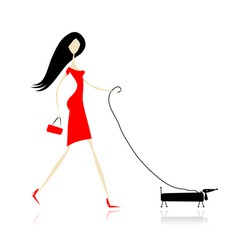 Woman in red dress walking with dog vector image vector image