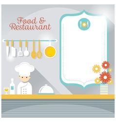 Chef at Restaurant Counter with Blank Sign vector image vector image