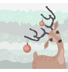 Christmas reindeer card vector image vector image