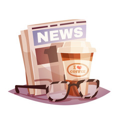 coffee with a newspaper and glasses vector image vector image