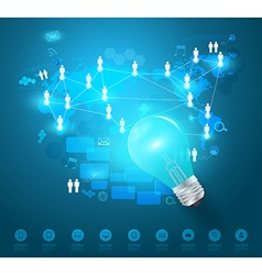 Creative light bulb idea with technology network vector image vector image