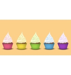 Set of five rainbow cupcakes vector image