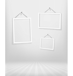 Three frames in striped room vector image vector image