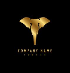 elephant logo black background vector image vector image
