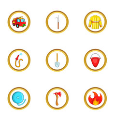 fireman profession icon set cartoon style vector image vector image