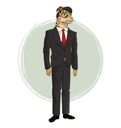hipster style tiger sunglasses red tie suit vector image