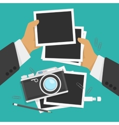 Photos and camera in flat style vector image vector image