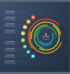 presentation infographic circle chart 8 options vector image