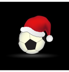soccer and football ball with red santa hat eps10 vector image vector image